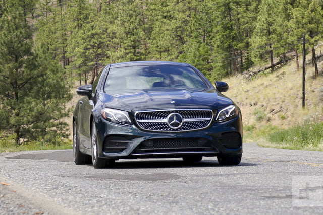 e400 coupe front-facing-shot-car-driving-slightly-angled-right