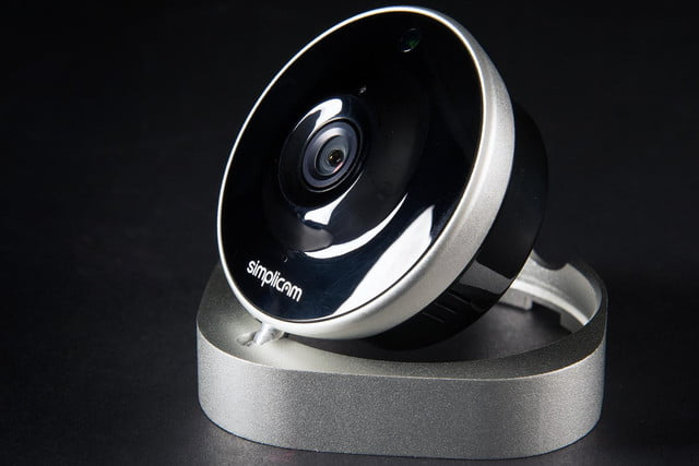 ArcSoft Simplicam security camera review front angle stand tilted