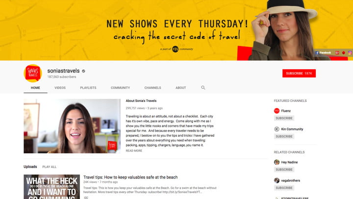 best youtube channels sonias travels