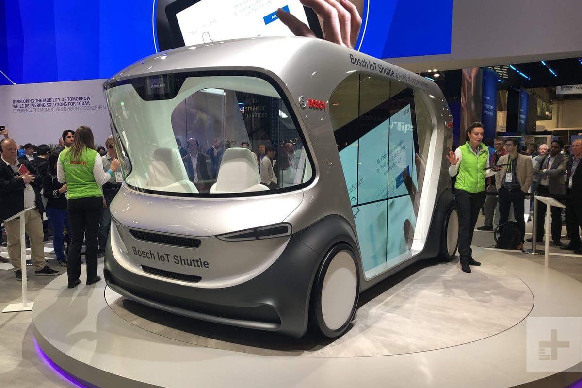the best self driving shuttles and cars ces 2019 bosch iot shuttle