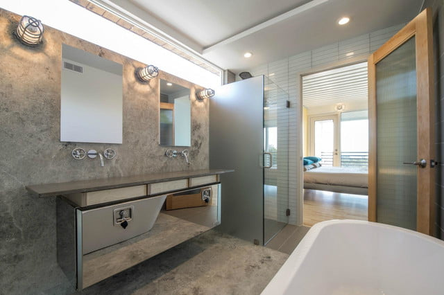 this shipping container home is super luxurious dallas bathroom