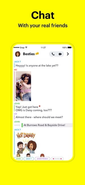 Screenshot of Chat feature in Snapchat app