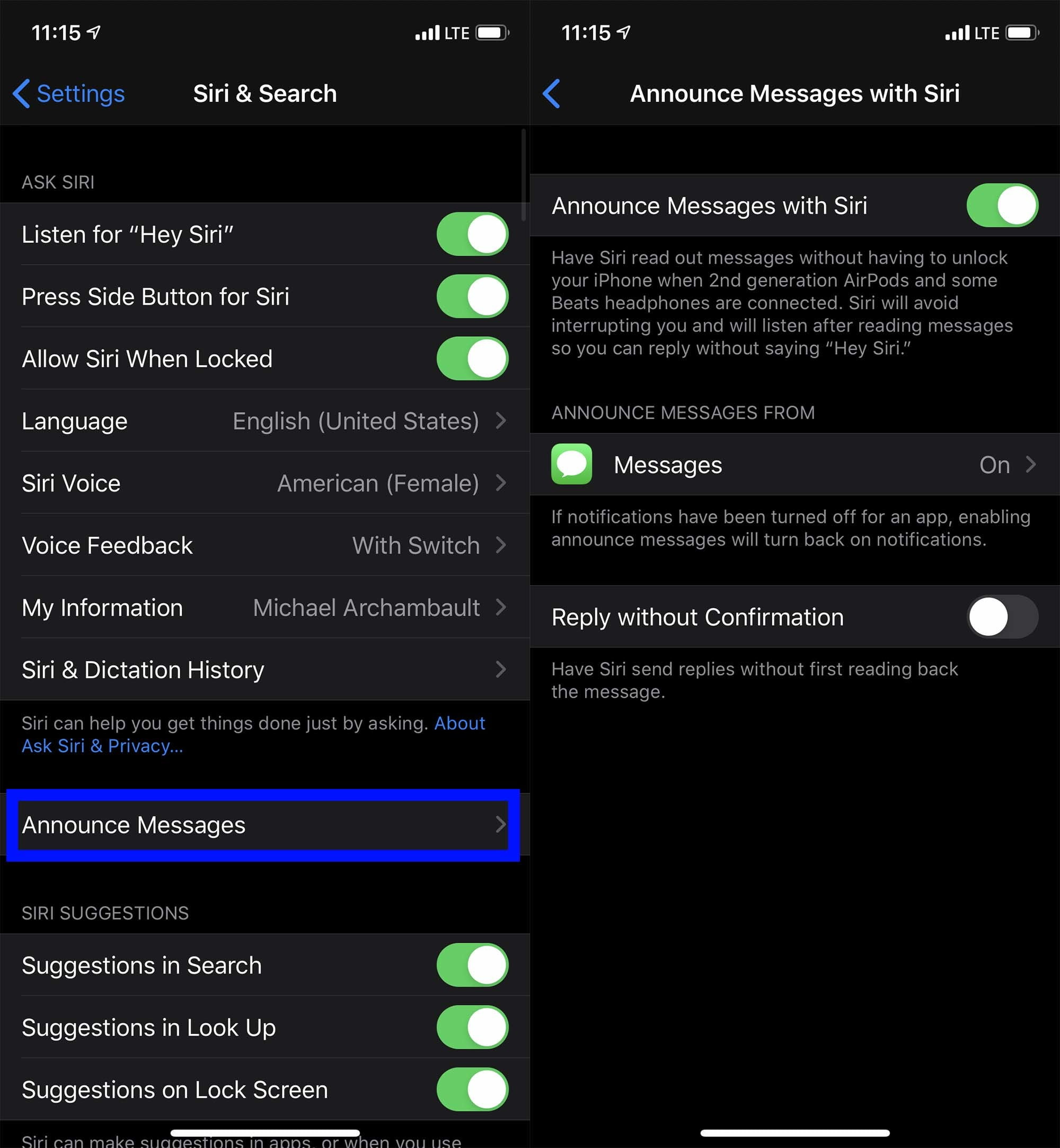 Enable Announce Messages with Siri