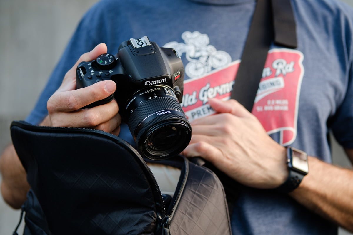 Product photo of Canon EOS Rebel T8i taken out of the camera bag.
