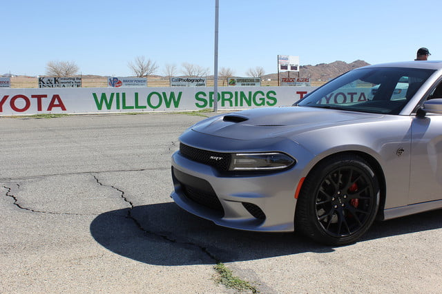 2015 dodge charger challenger srt hellcats track review and hellcat on silver front