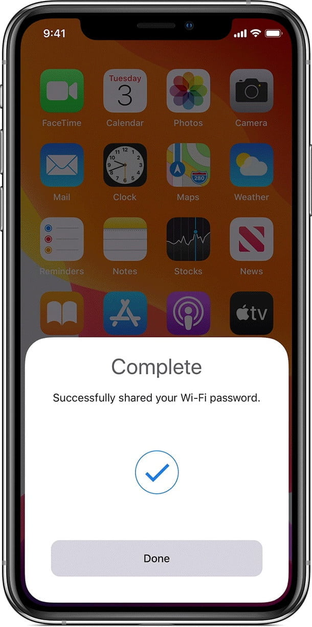 iOS Wi-Fi password sharing