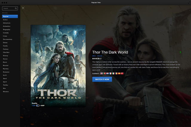 Popcorn Time Software Thor Details Page