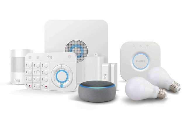 amazon discounts ring alarm system with echo dot and philips hue alexa guard kit 5 piece