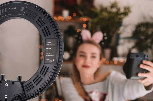 promo code saves 40 off ring light with stand and phone holder esddi 14inch outer adjustable color temperature 3200k 5600k 4