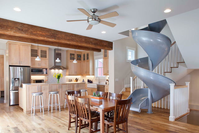 houses with amazing indoor slides sliding into home