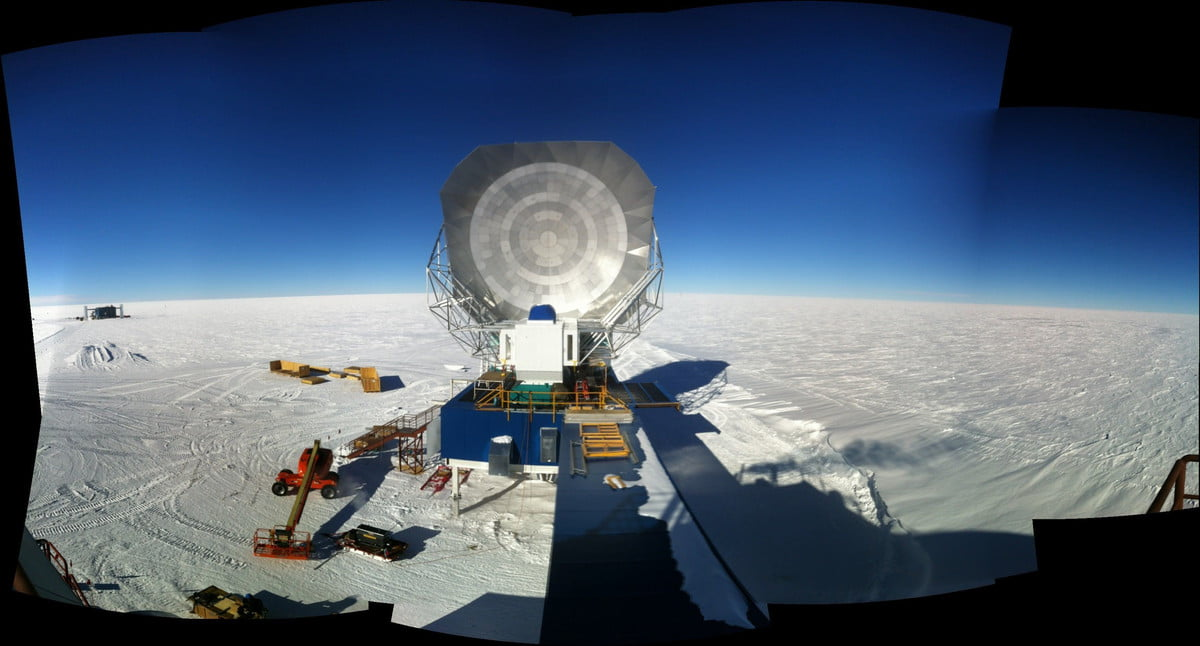The South Pole Telescope having its co-moving ground shield extended in 2012 Brad Benson