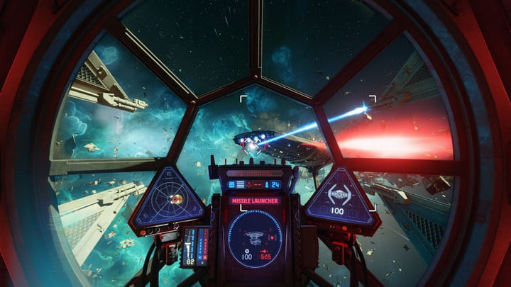 A tie fighter takes on a New Republic flagship