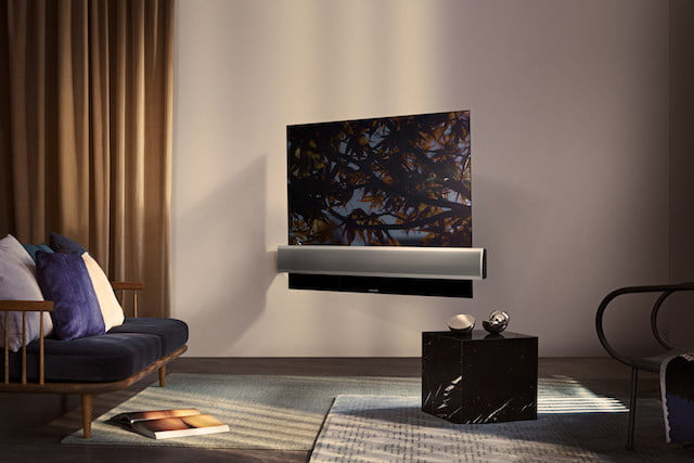 bang olufsen beovision televisor oled eclipse  wall bracket alu speaker cover angle from image on screen lifestyle