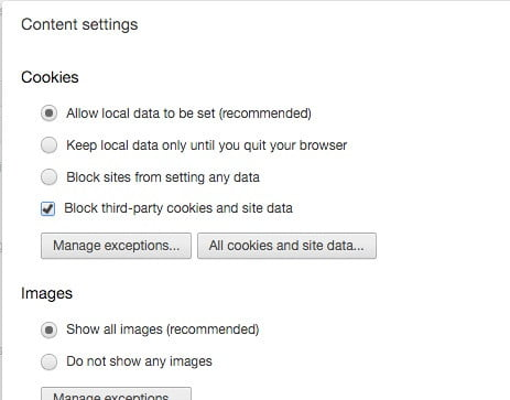 como eliminar cookies chromecookiessettings