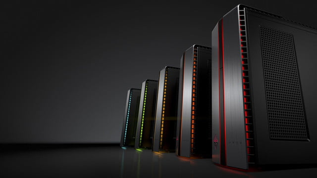 hp lanza linea enfocada gaming omen by desktop pc with  led left facing