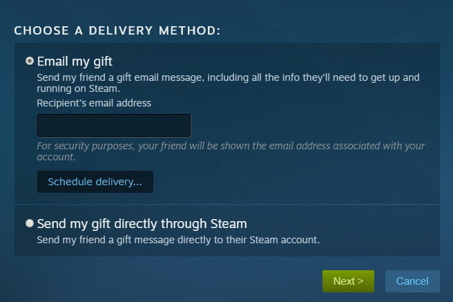 how to gift games on steam email or friend