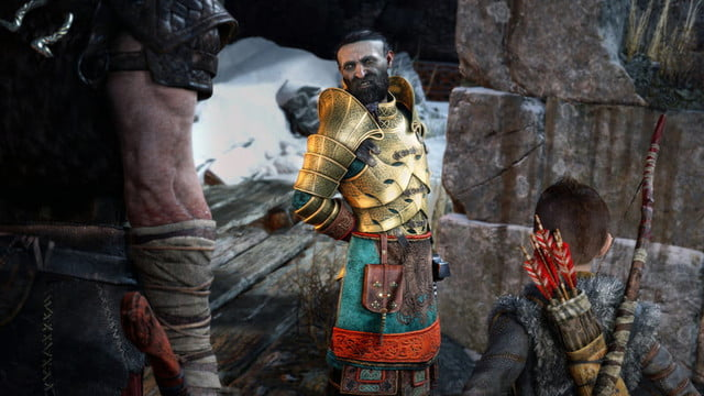 God of War Review | Kratos and Atreus speaking with a man in gold armor
