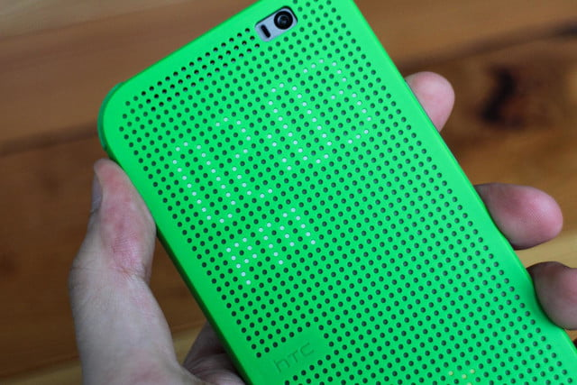 HTC One M8 w/ Windows hands on cover clock angled