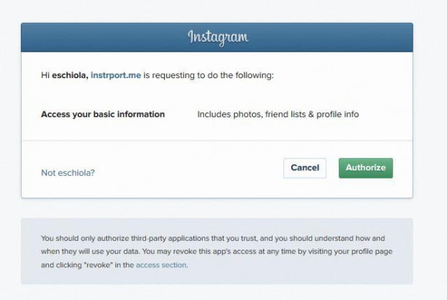 Instaport requesting basic information access