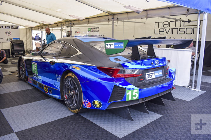 Backside of the Lexus RC F GT3 angled to the left showing of the spoiler and back left wheel