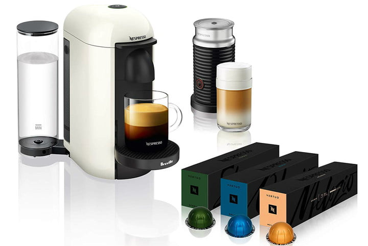 amazon deal of day nespresso coffee and espresso machines with frother vertuoplus machine aeroccino milk by breville white  v