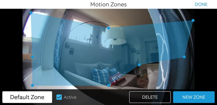 Ring Stick Up Cam app motion zones