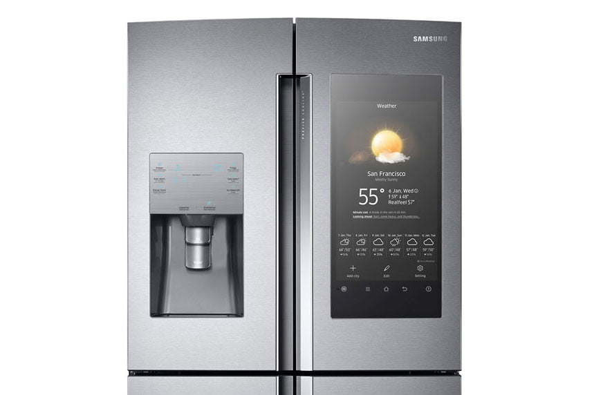 samsung 39 s family hub smart fridge has a big touchscreen digital trends. Black Bedroom Furniture Sets. Home Design Ideas