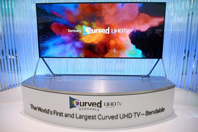 samsungs massive bending 4k tv flexes flat curved right front face samsung 16