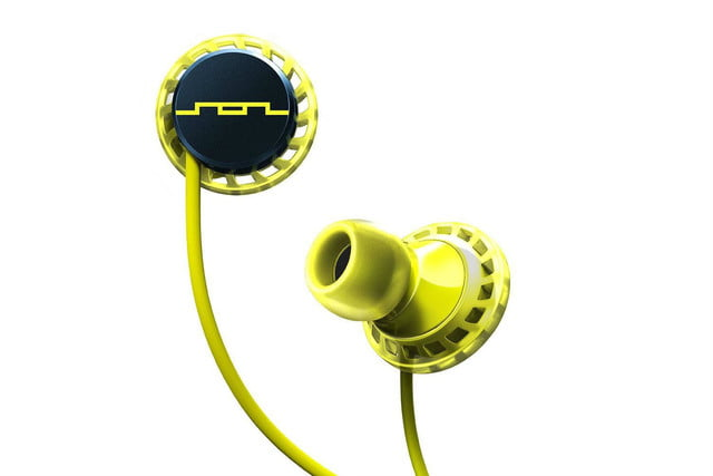 sol republic relay sport form fit water resistant in ear headphones relays tight yellow