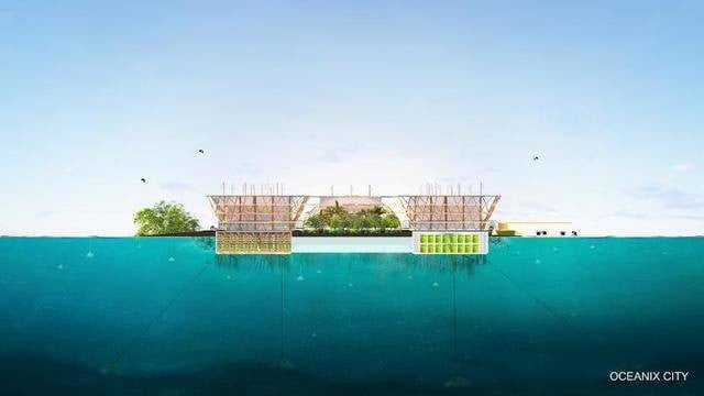 this floating city concept could withstand a category 5 hurricane the designers consider group of six platforms to be village