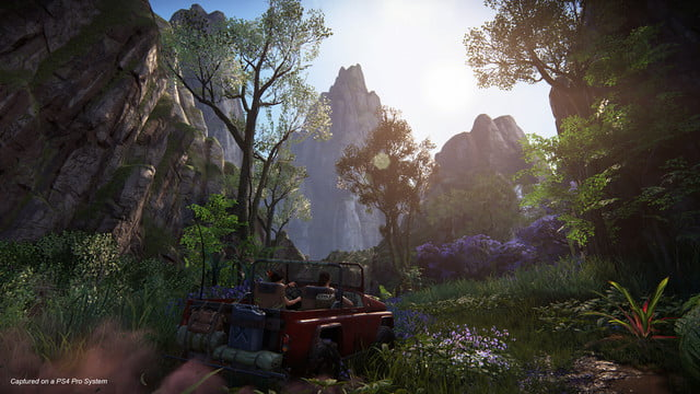 Uncharted: The Lost Legacy Nadine and Chloe driving a humvee through a forest