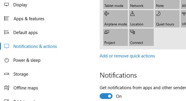 how to configure notifications action center windows 10 settings choose and actions